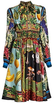 Dolce & Gabbana Multi-Fruit Printed Silk Shirtdress