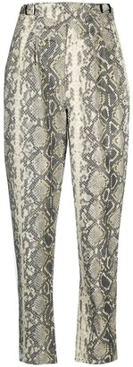 Rotate by Birger Christensen Snakeskin-Print High-Waisted Trousers