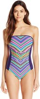 Anne Cole Women's Desert Diamond Engineered Bandeau One Piece Swimsuit