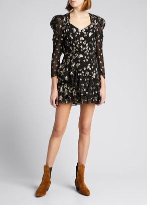 LoveShackFancy Caden Metallic Ruffle Mini Dress