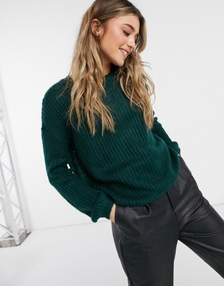 JDY long sleeve knitted jumper in green