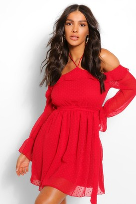 boohoo Dobby Mesh Tie Neck Frill Detail Skater Dress