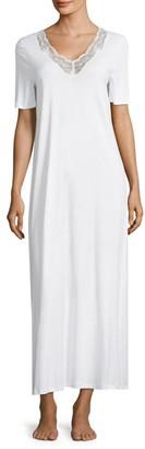 Hanro Valencia Lace-Trimmed Cotton Gown