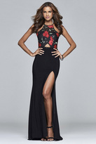 Faviana 7952 Long halter neck with embroidered fishnet bodice and jersey skirt