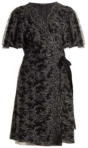 Carine Gilson Floral Lace Embroidered Silk Wrap Dress - Womens - Black