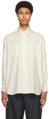 Victoria Beckham Off-White Silk Pocket Shirt