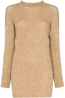 Saint Laurent Glitter Embellished Mini Jumper Dress