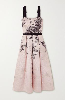 Marchesa Notte Grosgrain-trimmed Metallic Floral-print Jacquard Midi Dress - Blush