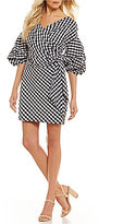 Gianni Bini Graham Balloon Sleeve Tie Front Wrap Gingham Dress