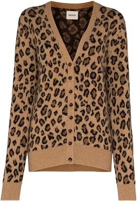 KHAITE Amelia leopard knit cardigan