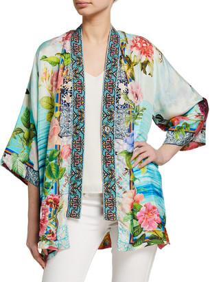 Johnny Was Plus Size Parvati Reversible Floral Print Kimono