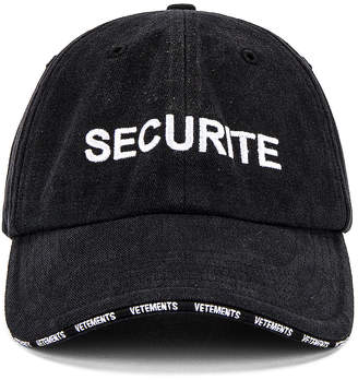 Vetements Securite Cap in Black | FWRD