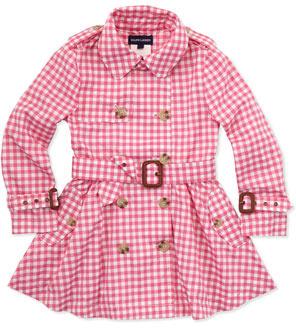 Ralph Lauren Gingham Full-Skirt Trench Coat, Pink, 2T-3T