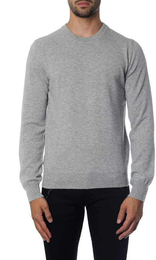 Maison Margiela Grey Wool Knitwear With Suede Patches Detail