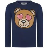 Moschino MoschinoGirls Navy Teddy Jersey Top