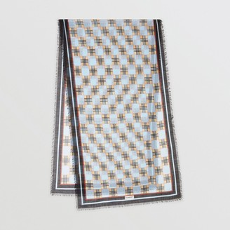 Burberry Chequer Print Wool Silk Scarf