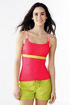 Lands' End Women's Petite AquaSport Scoop Tankini Swimsuit Top-Mint/Light Gray