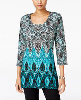 JM Collection Petite Snake-Print Handkerchief-Hem Top, Only at Macy's