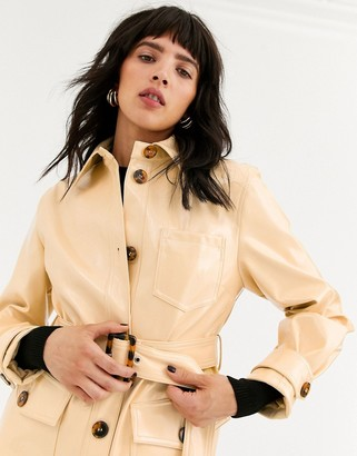 Topshop vinyl crop jacket with belt in butter