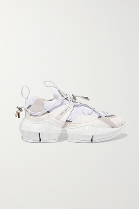 Jimmy Choo Diamond Trail Stretch-mesh, Leather And Suede Sneakers - White