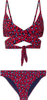 Stella McCartney Animal Leopard-print Wrap Bikini - Claret