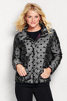 Classic Women's Petite Lightweight Down Jacket-Silver/Black Flock Dot