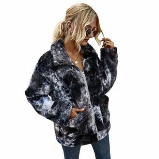 TURMIN Women Ladies Tie Dye Sweatshirt Soft Teddy Fleece Coat Jacket Casual Sherpa Pullover with Zip Cozy Warm Tops Jumper Outerwear for Winter-Dark Grey-M