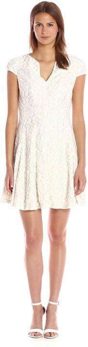 Julia Jordan 36438 V-Neck Cap Sleeve Lace Fitflare Dress
