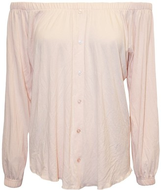 Oops Womens Long Sleeve Off The Shoulder Elastic Front Buttons Down Bardot Top Nude