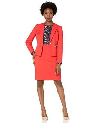 Le Suit Women's Petite 1 Button Zipper Pocket Glazed Melange Skirt Suit