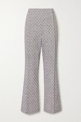 Acne Studios Cotton And Linen-blend Jacquard Flared Pants - Beige