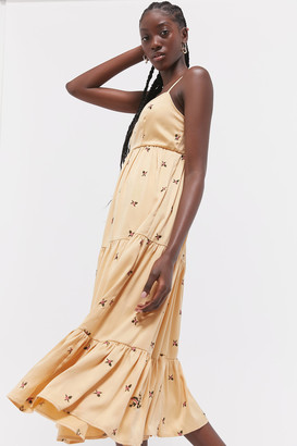 Urban Outfitters Cannes Embroidered Tiered Maxi Dress