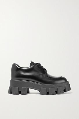 Prada Leather Platform Brogues - Black