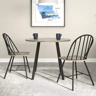 Novogratz Leo Farmhouse Round Dining Table & Chair 3-piece Set