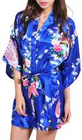 iBaste Women's Stain Kimono Robes Peacock and Blossoms Silk Nightwear Short