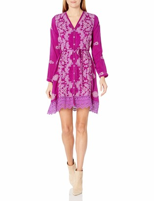 Johnny Was Women's Tonal Embroidered Long Sleeve Buttondown Dress