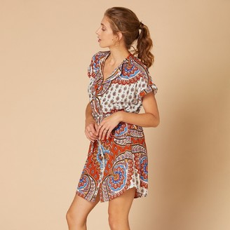 Derhy Printed Cotton/Linen Mini Dress with Buttons, Short Sleeves and Tie-Waist