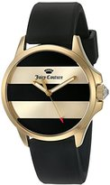 Juicy Couture Women's 'Jetsetter' Quartz Gold-Tone and Silicone Quartz Watch, Color:Black (Model: 1901345)