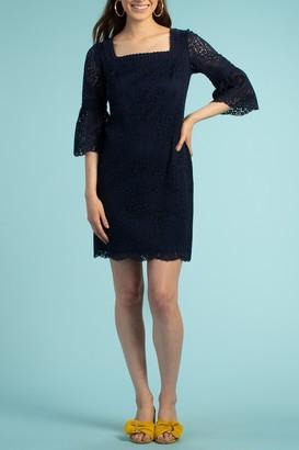 Trina Turk Brilliant Lace Bell Sleeve Mini Dress