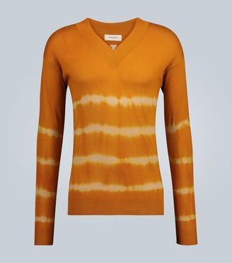 Rochas V-neck tie-dye sweater