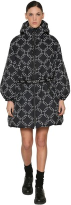 Valentino Vltn Printed Zip Up Quilted Nylon Coat