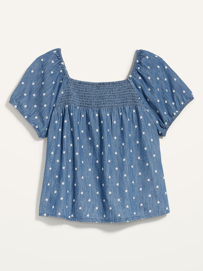 Thumbnail for your product : Old Navy Smocked-Yoke Floral-Embroidered Chambray Top for Women