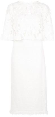 Oscar de la Renta Lace Detail Midi Dress
