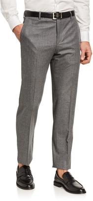Santorelli Men's Flannel Wool Straight-Leg Dress Pants