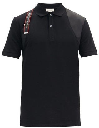 Alexander McQueen Harness-trim Cotton-pique Polo Shirt - Black