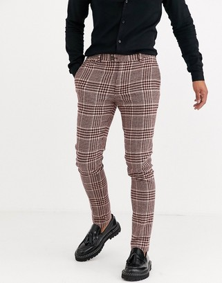 Asos Design DESIGN super skinny suit trousers in burgundy and camel wool blend check-Red