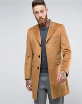 Ted Baker Cashmere Mix Overcoat In Camel