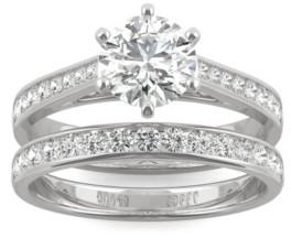 Charles & Colvard Moissanite Round Brilliant Bridal Set 1-5/8 ct. t.w. Diamond Equivalent in 14k White Gold