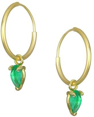 Ila Ahdra Kinsley 14K Yellow Gold Hoop & Emerald Earrings