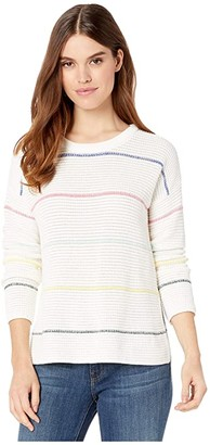 Michael Stars Paige Striped Scoop Neck Pullover Sweater (White Multi) Women's Clothing